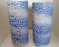 Wave textured salt glazed and wood fired vases