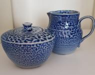 Sugar bowl and cream jug wood fired salt glazed