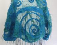 Wrap, Block Printed, Hand Dyed Silk and Wool