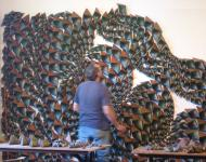 Ian, installing exhibiton