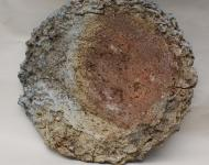 Large disc, New Work, wood and soda fired, clay with paper pulp and perlite added