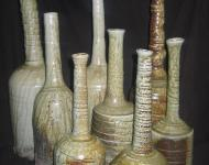 Long Necked Bottles, Anagama Fired