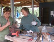 Di McCusker and I making the Raku Tongs