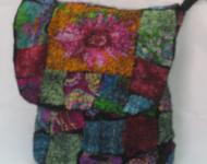 Felted with Silk Mosiac Patterned Hand Bag