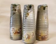 Wheel thrown vases, wood fired salt glazed